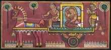 Figurative Tempera Art Painting title Bride And Companion by artist Jamini Roy