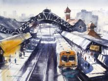 Cityscape Watercolor Art Painting title 'Bandra' by artist Ananta Mandal