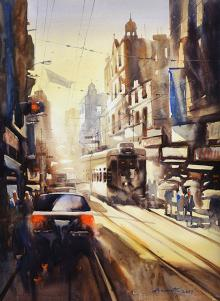 Cityscape Watercolor Art Painting title Freedom Of Kolkata II by artist Ananta Mandal