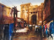Cityscape Watercolor Art Painting title 'Inside The Sonar Kella' by artist Ananta Mandal