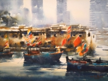 Seascape Watercolor Art Painting title Nariman Point in Mumbai III by artist Ananta Mandal