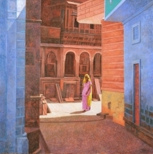 Gopal Nandurkar Paintings | Acrylic Painting - Afternoon In Pokharan by artist Gopal Nandurkar | ArtZolo.com
