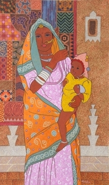 #realistic #figurative #lamani woman #folk costume #woman with baby