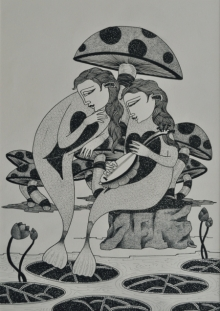 Figurative Ink Art Drawing title 'Couple 1' by artist Chandrashekhar Kumavat