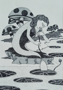 Figurative Ink Art Drawing title 'Untitled 2' by artist Chandrashekhar Kumavat