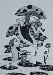 Figurative Ink Art Drawing title 'Untitled 3' by artist Chandrashekhar Kumavat
