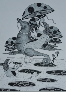 Figurative Ink Art Drawing title 'Untitled 4' by artist Chandrashekhar Kumavat