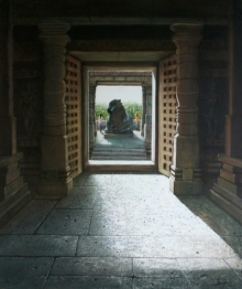 Pravin Pasare | Oil Painting title Hoysaleswara Temple on Canvas | Artist Pravin Pasare Gallery | ArtZolo.com