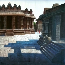Pravin Pasare | Oil Painting title Vitthala Temple Hampi on Canvas | Artist Pravin Pasare Gallery | ArtZolo.com