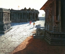 Pravin Pasare | Oil Painting title Vitthala Temple Hampi 10 on Canvas | Artist Pravin Pasare Gallery | ArtZolo.com