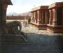 Religious Oil Art Painting title Vitthala Temple Hampi 23 by artist Pravin Pasare