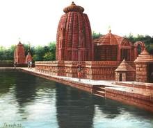 Religious Oil Art Painting title Vitthala Temple Hampi 26 by artist Pravin Pasare
