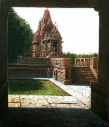 Religious Oil Art Painting title Vitthala Temple Hampi 29 by artist Pravin Pasare