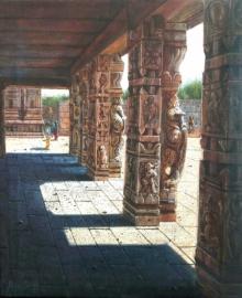Religious Oil Art Painting title Vitthala Temple Hampi 30 by artist Pravin Pasare