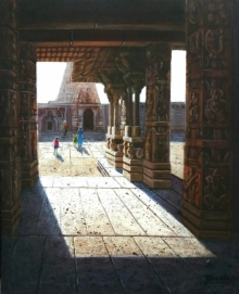 Religious Oil Art Painting title Vitthala Temple Hampi 33 by artist Pravin Pasare