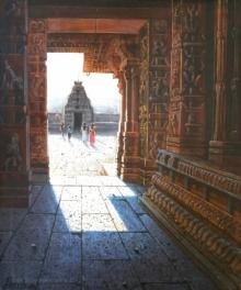 Religious Oil Art Painting title Vitthala Temple Hampi 36 by artist Pravin Pasare