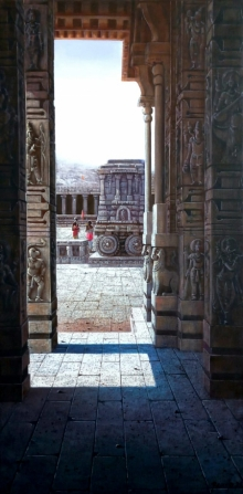 Religious Oil Art Painting title Vitthala Temple Hampi 43 by artist Pravin Pasare