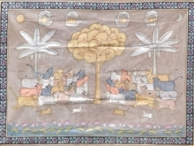 Traditional Indian art title Gopashtami Pichwai 2 on Cloth - Pichwai Paintings
