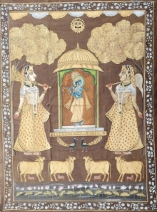 Traditional Indian art title Krishna Playing Flute Pichwai on Cloth - Pichwai Paintings