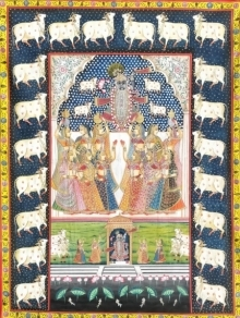 Traditional Indian art title Pichwai 101 on Cloth - Pichwai Paintings