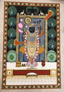 Traditional Indian art title Pichwai 145 on Silk - Pichwai Paintings
