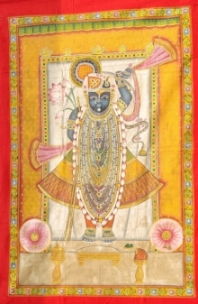 Traditional Indian art title Pichwai 18 on Cloth - Pichwai Paintings