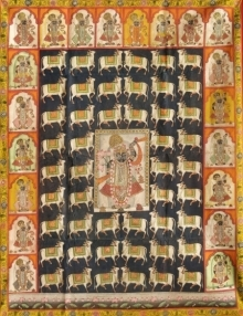 Traditional Indian art title Pichwai 24 on Cloth - Pichwai Paintings