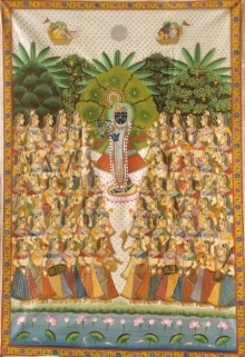 Traditional Indian art title Pichwai 42 on Cloth - Pichwai Paintings