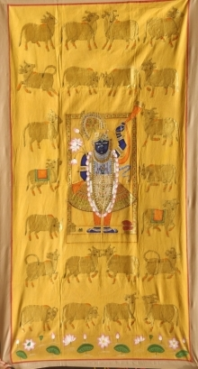 Traditional Indian art title Pichwai 45 on Cloth - Pichwai Paintings