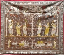 Traditional Indian art title Ragini Pichwai 1 on Cloth - Pichwai Paintings