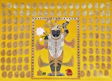 Traditional Indian art title Shrinathj 2 on Cloth - Pichwai Paintings