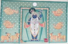 Traditional Indian art title Shrinathji 3 on Cloth - Pichwai Paintings