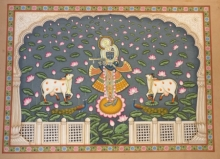Pichwai Art | Pichwai Traditional art title Shrinathji 6 on Cloth | Artist Pichwai Art Gallery | ArtZolo.com