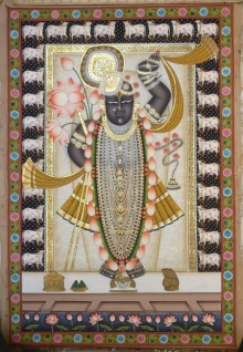 Traditional Indian art title Shrinathji 7 on Cloth - Pichwai Paintings