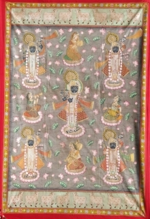Traditional Indian art title Srinathji In Kamaltalai Pichwai on Cloth - Pichwai Paintings