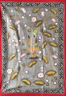 Traditional Indian art title Yamunaji Pichwai on Cloth - Pichwai Paintings