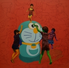 contemporary Acrylic-oil Art Painting title 'Recreating Childhood' by artist Jitendra Saini