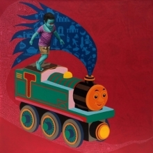 contemporary Acrylic-oil Art Painting title The Train by artist Jitendra Saini
