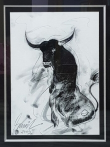 Bull 2 | Painting by artist Sunil Das | mixed-media | Canvas Board
