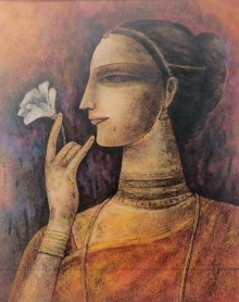 Portrait Mixed-media Art Painting title Untitled 1 by artist Ganesh Pyne
