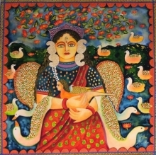 Figurative Watercolor Art Painting title 'Lakshmi' by artist Jayasri Burman