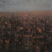 Cityscape Oil Art Painting title Cityscape by artist Harshit Bondre