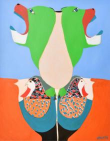 contemporary Acrylic Art Painting title Twitterati! by artist Shantala Palat