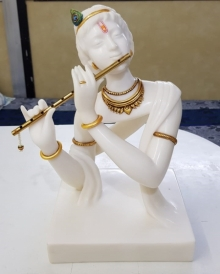 Bhagwan Rampure | Krishna Sculpture by artist Bhagwan Rampure on Polystone, Marble | ArtZolo.com