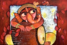 Figurative Acrylic Art Painting title 'Rudveda' by artist Sharmi Dey