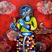 Figurative Acrylic Art Painting title 'Yashomati' by artist Sharmi Dey