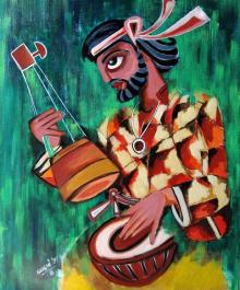 Sharmi Dey | Acrylic Painting title Fakir on Canvas | Artist Sharmi Dey Gallery | ArtZolo.com