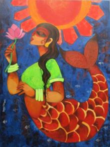 Sharmi Dey | Acrylic Painting title Ocean Girl on Canvas | Artist Sharmi Dey Gallery | ArtZolo.com