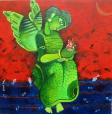 Sharmi Dey | Mixed-media Painting title Butterfly girl on Canvas | Artist Sharmi Dey Gallery | ArtZolo.com
