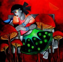 Sharmi Dey | Acrylic Painting title Wonderland on Canvas | Artist Sharmi Dey Gallery | ArtZolo.com